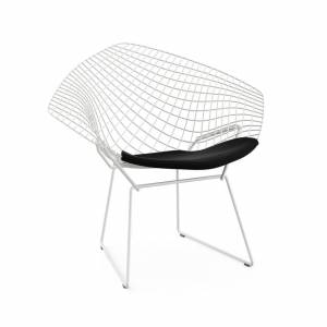 KNOLL fauteuil avec coussin BERTOIA DIAMOND (Structure blanche / Coussin Black Onyx - Acier / Tissu Ultrasuede) - Publicité