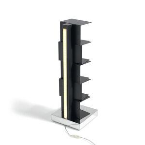 OPINION CIATTI bibliothèque avec éclairage à LED PTOLOMEO LUCE H 75 cm (Structure noire, base inox - Structure et étagères en fer laqué. base en [...]