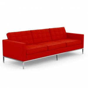 KNOLL canapé à 3 places FLORENCE en tissu (Cato Fire Red - Revêtement en tissu Cat. B et structure en acier chromé)