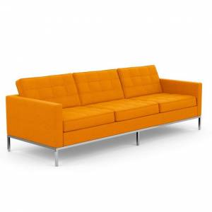 KNOLL canapé à 3 places FLORENCE en tissu (Cato Orange - Revêtement Cat. B et structure en acier chromé) - Publicité
