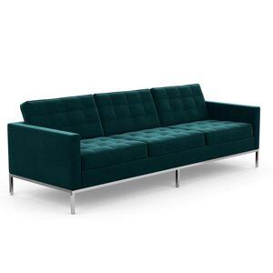 KNOLL canapé à 3 places FLORENCE en tissu (Knoll Velvet Teal - Revêtement Cat. B et structure en acier chromé) - Publicité