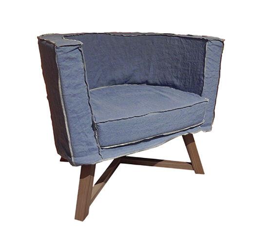 GERVASONI fauteuil GRAY 08 (Laguna Tissu couleur lagune - Coutures granit - noyer noir)