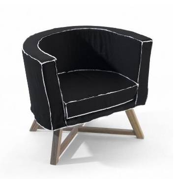 GERVASONI fauteuil GRAY 08 (Tissu - Coutures blanches - noyer noir)