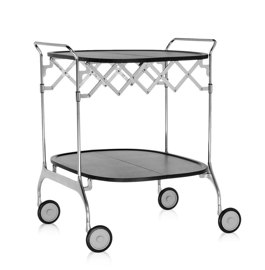 KARTELL chariot à aliments pliant GASTONE (Noir - Nylon chargé en fibre de verre / acier chromé)