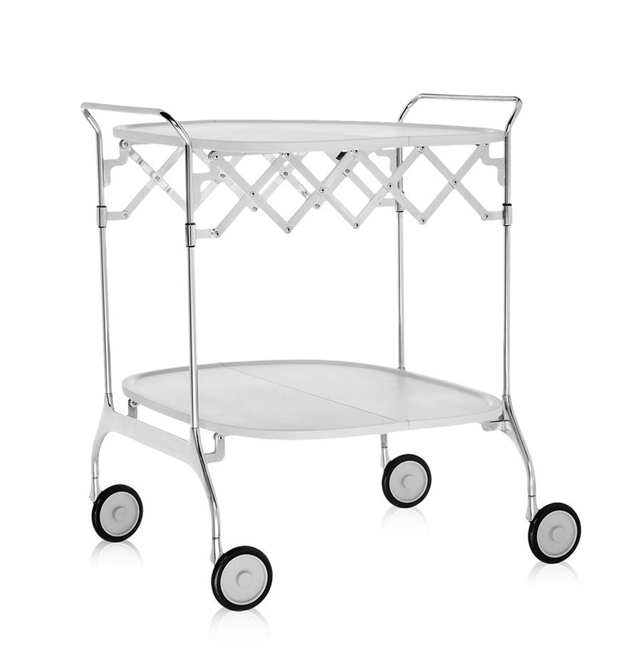 KARTELL chariot à aliments pliant GASTONE (Blanc - Nylon chargé en fibre de verre / acier chromé)