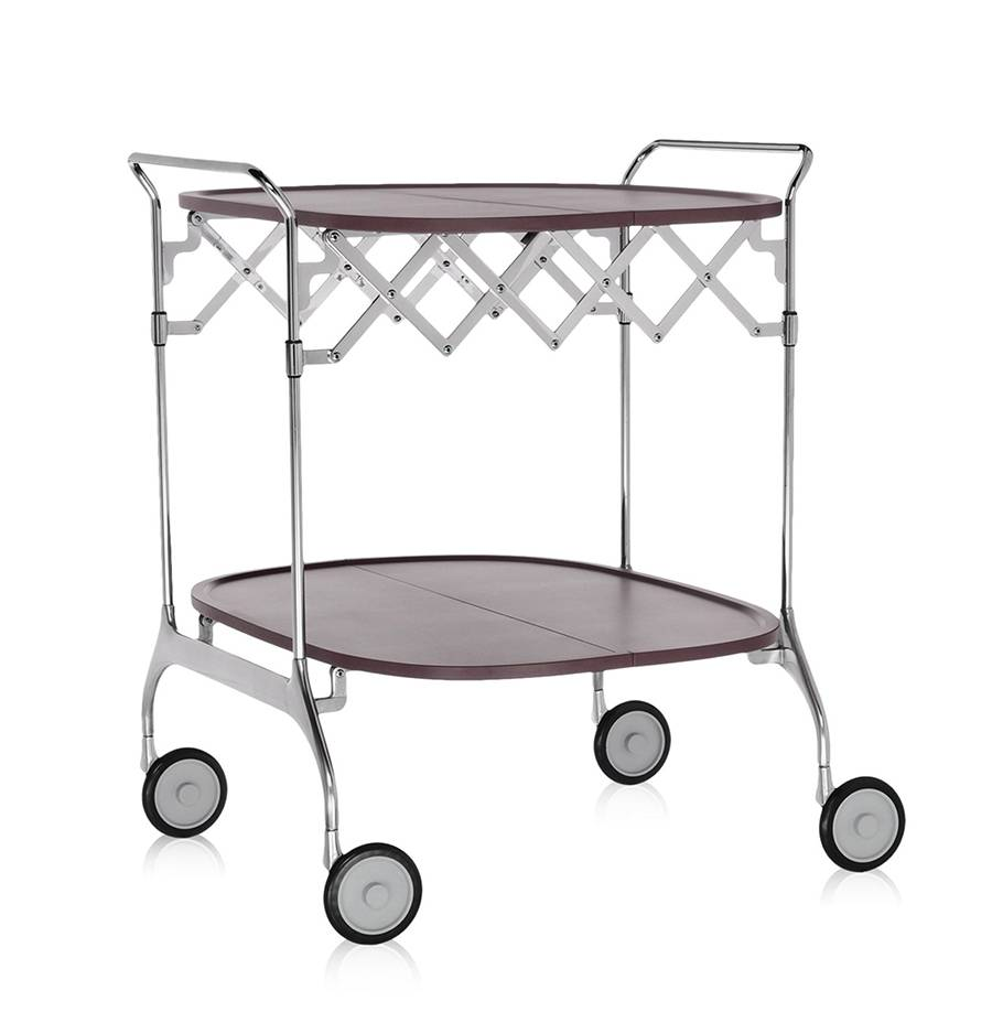 KARTELL chariot à aliments pliant GASTONE (Prune - Nylon chargé en fibre de verre / acier chromé)