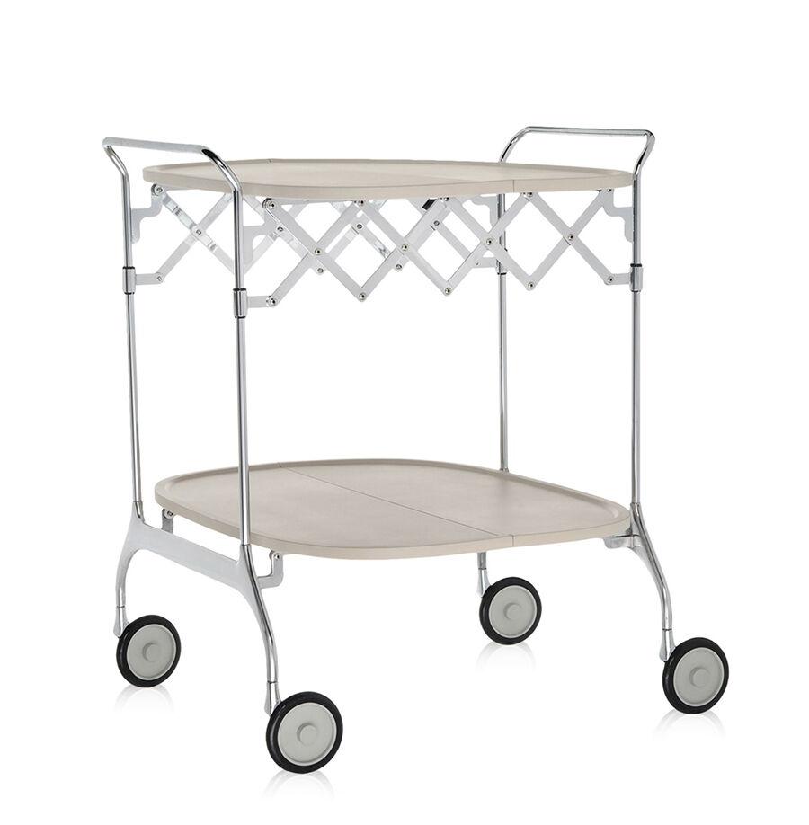 KARTELL chariot à aliments pliant GASTONE (Crème claire - Nylon chargé en fibre de verre / acier chromé)