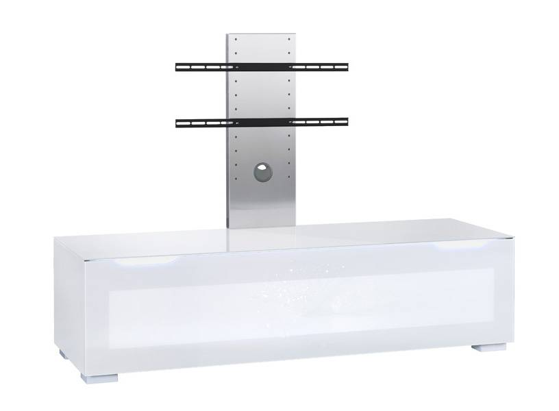 MUNARI composition 54C meuble PARIS pour TV PS150 + FI096 (Blanc - Verre)