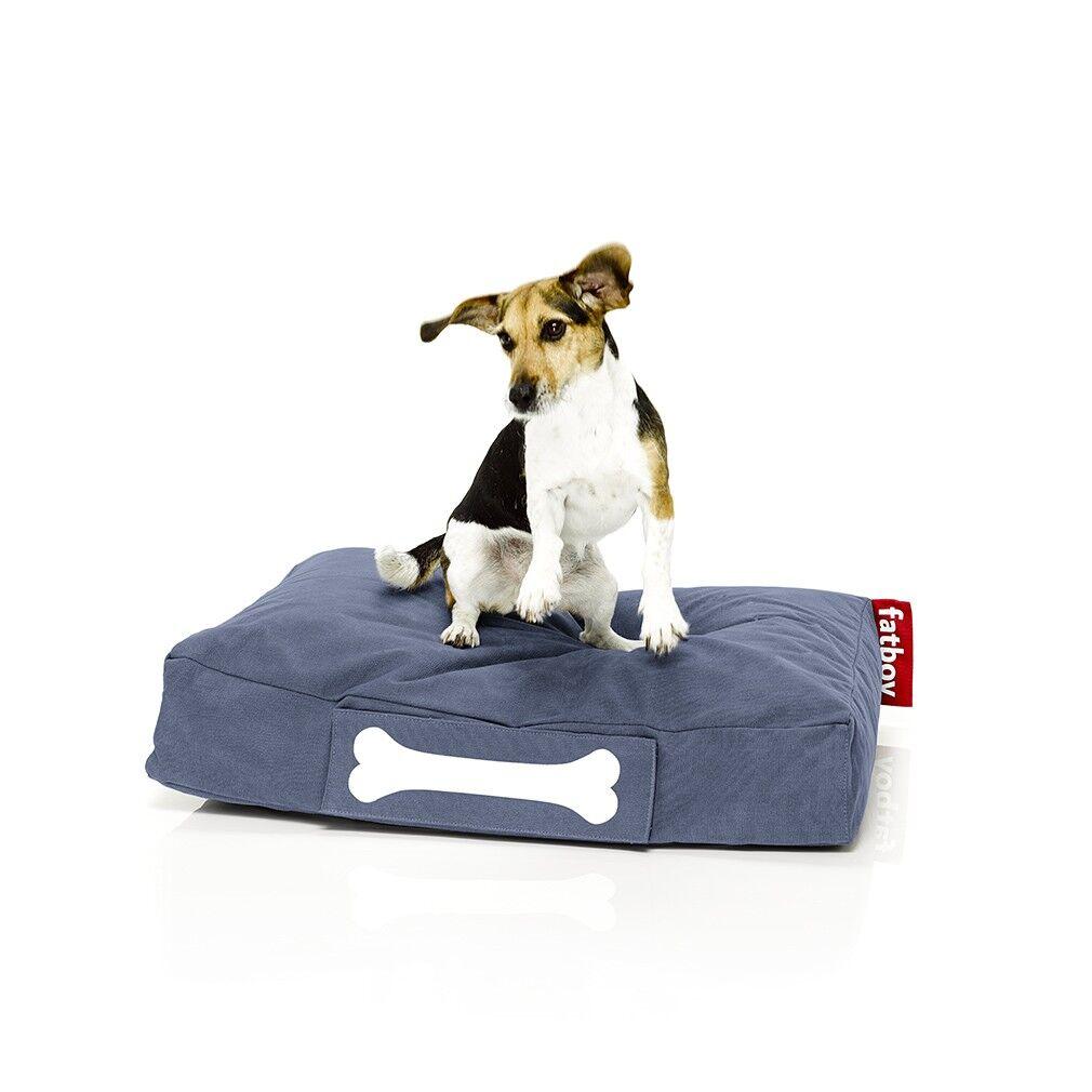 FATBOY sac pouf pour chiens et chats DOGGIELOUNGE STONEWASHED SMALL (Bleu - 100% Coton)