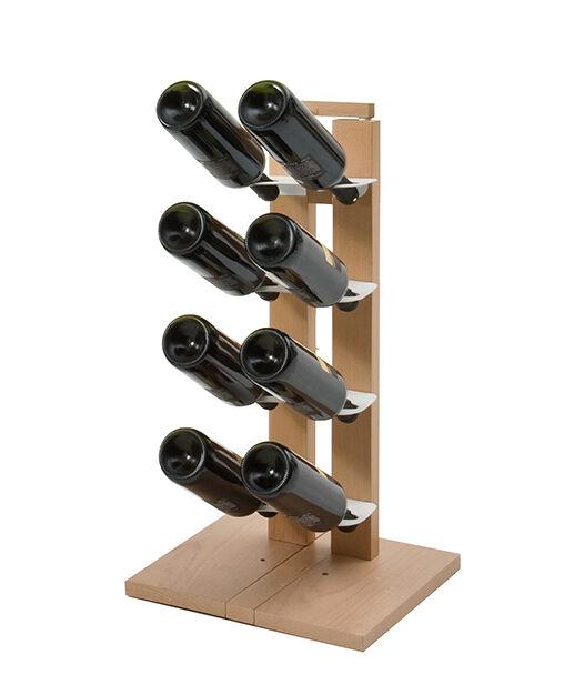 LE ZIE DI MILANO porte-bouteilles une face à colonne ZIA GAIA (H 66 cm / Naturel - Hêtre massif et acier)