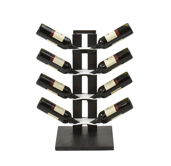 LE ZIE DI MILANO porte-bouteilles une face à colonne ZIA GAIA (H 66 cm / Noir - Hêtre massif et acier)