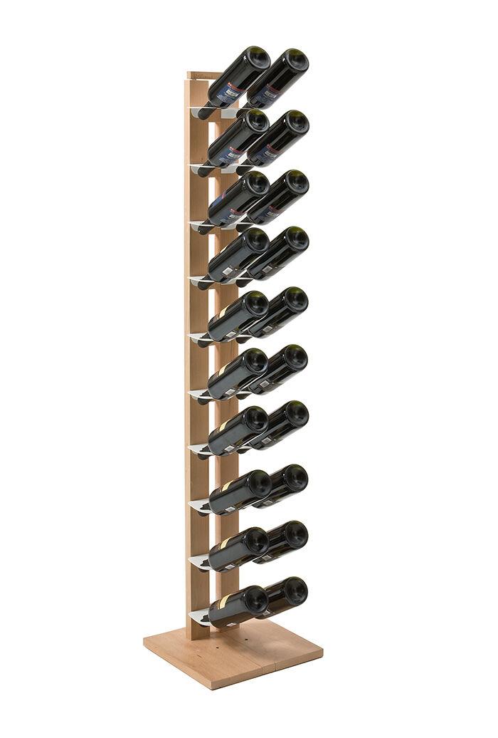LE ZIE DI MILANO porte-bouteilles une face à colonne ZIA GAIA (H 158 cm / Naturel - Hêtre massif et acier)