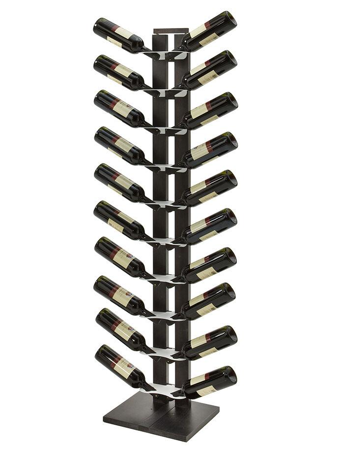LE ZIE DI MILANO porte-bouteilles une face à colonne ZIA GAIA (H 158 cm / Noir - Hêtre massif et acier)