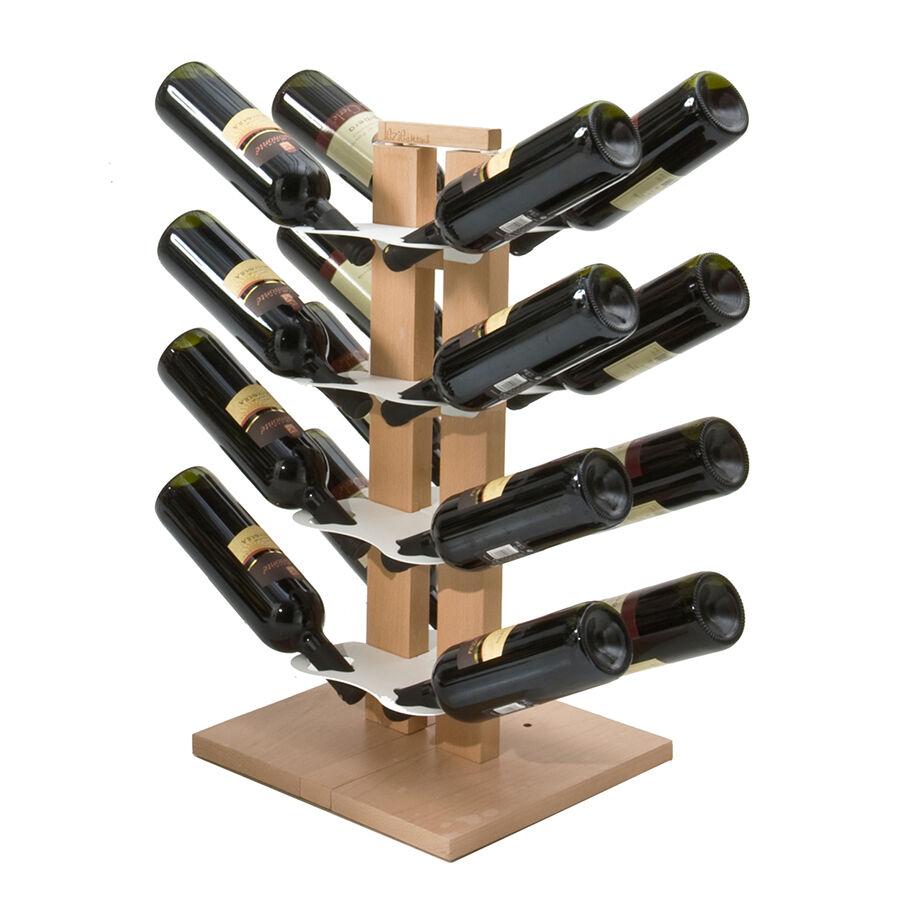 LE ZIE DI MILANO porte-bouteilles double face à colonne ZIA GAIA (H 66 cm / Naturel - Hêtre massif et acier)