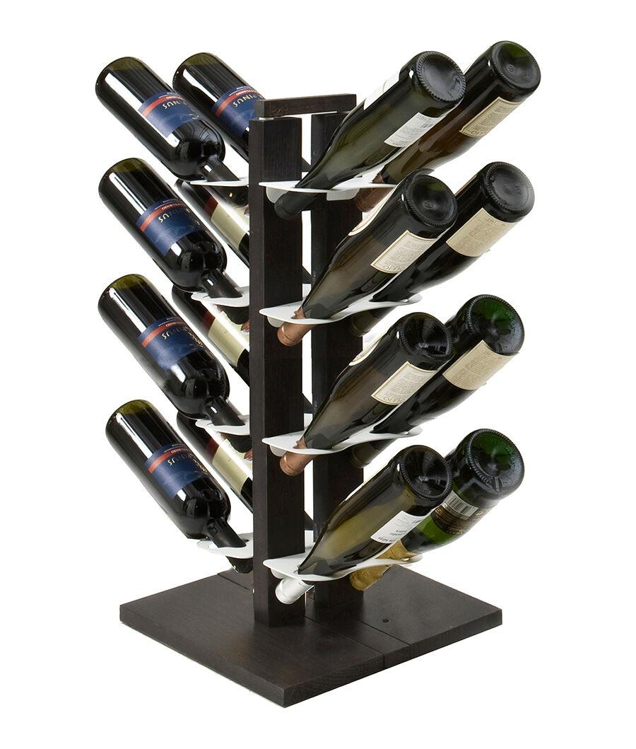 LE ZIE DI MILANO porte-bouteilles double face à colonne ZIA GAIA (H 66 cm / Noir - Hêtre massif et acier)