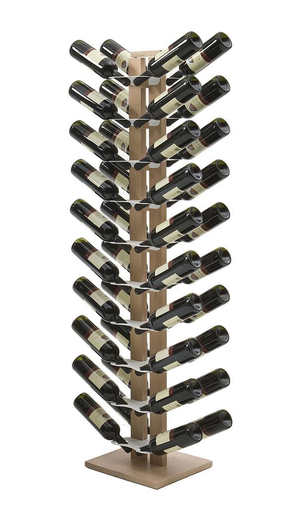 LE ZIE DI MILANO porte-bouteilles double face à colonne ZIA GAIA (H 158 cm / Naturel - Hêtre massif et acier)