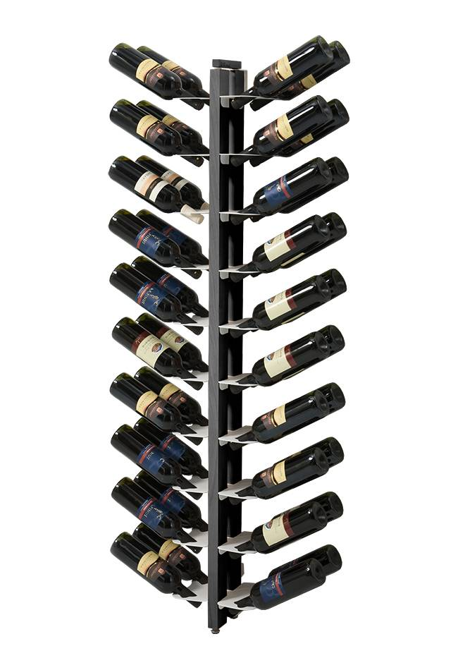 LE ZIE DI MILANO porte-bouteilles sur pied double face fixé au mur ZIA GAIA (H 156 cm / Noir - Hêtre massif et acier)