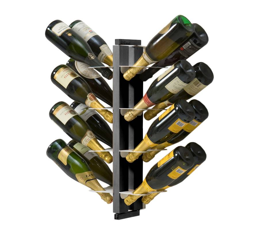 LE ZIE DI MILANO porte-bouteilles double face fixé au mur ZIA GAIA (H 66 cm / Noir - Hêtre massif et acier)