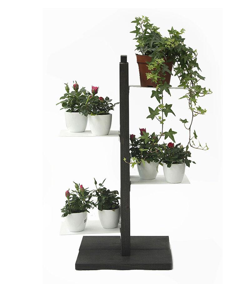 LE ZIE DI MILANO porte-plantes ZIA FLORA (H 66 cm / Noir - Hêtre massif et acier)