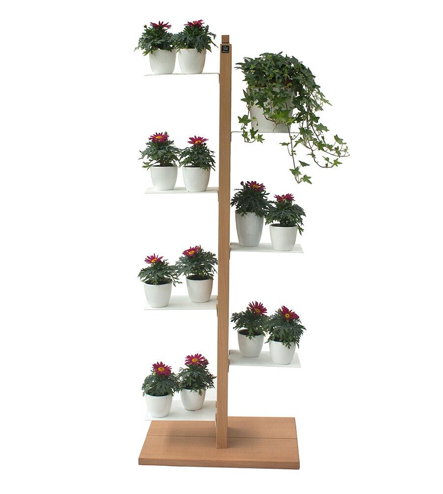 LE ZIE DI MILANO porte-plantes ZIA FLORA (H 112 cm / Naturel - Hêtre massif et acier)