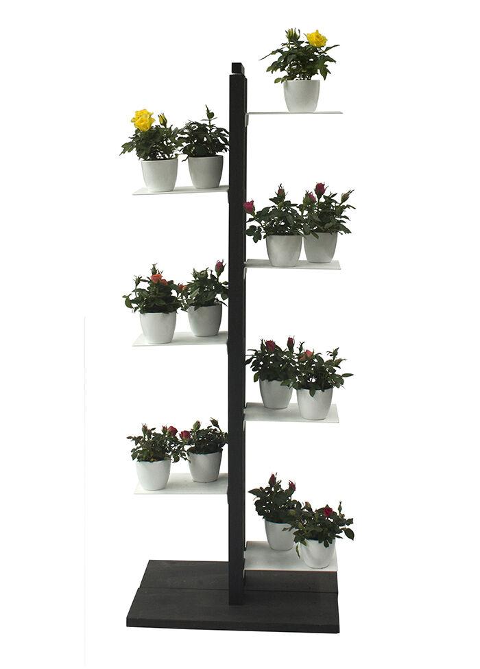 LE ZIE DI MILANO porte-plantes ZIA FLORA (H 112 cm / Noir - Hêtre massif et acier)