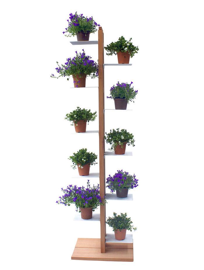 LE ZIE DI MILANO porte-plantes ZIA FLORA (H 158 cm / Naturel - Hêtre massif et acier)
