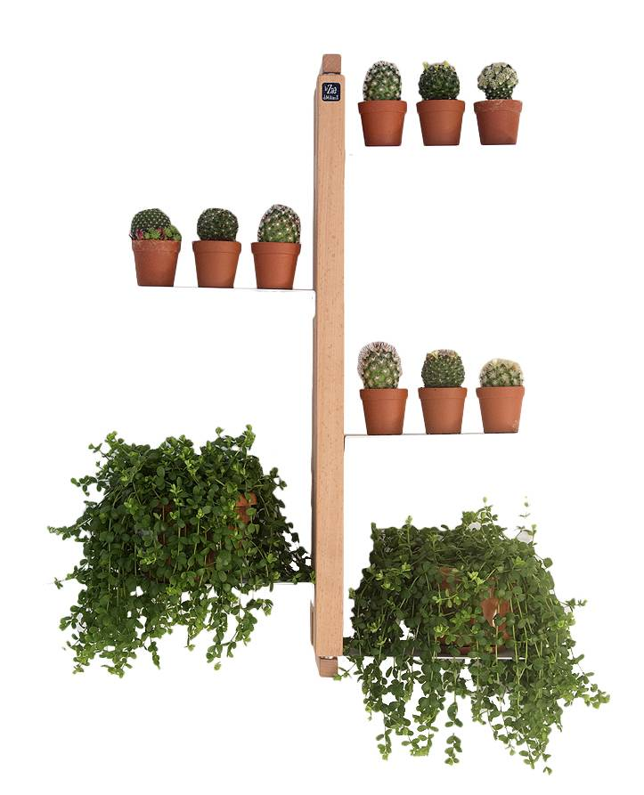 LE ZIE DI MILANO porte-plantes fixé au mur ZIA FLORA (H 66 cm / Naturel - Hêtre massif et acier)
