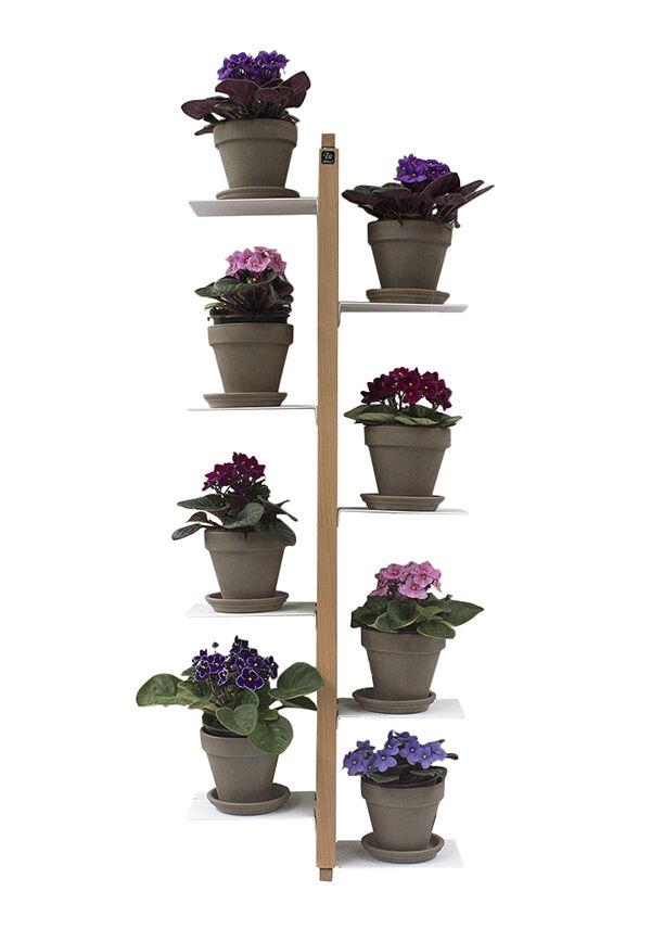 LE ZIE DI MILANO porte-plantes fixé au mur ZIA FLORA (H 112 cm / Naturel - Hêtre massif et acier)