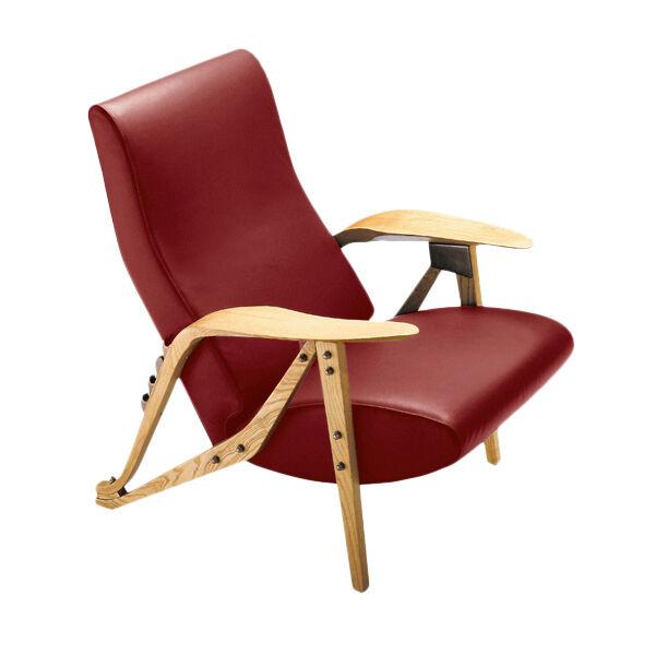 ZANOTTA fauteuil inclinable GILDA CM (Bordeaux - Cuir Nappa Cat 95 et chêne naturel)