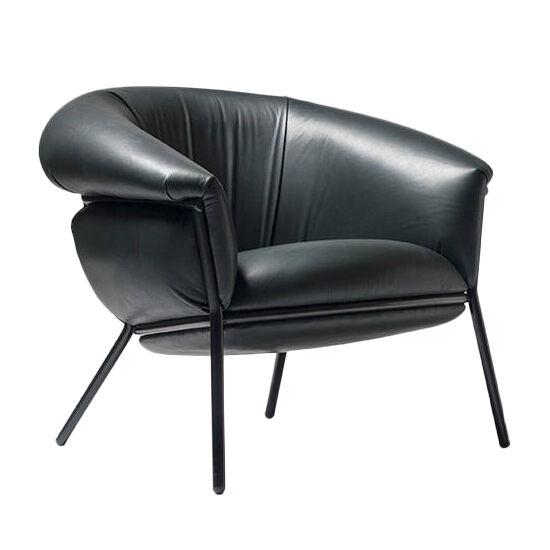 BD BARCELONA DESIGN fauteuil GRASSO (Black F10 et structure noire - cuir Florida Cat. F et acier verni)