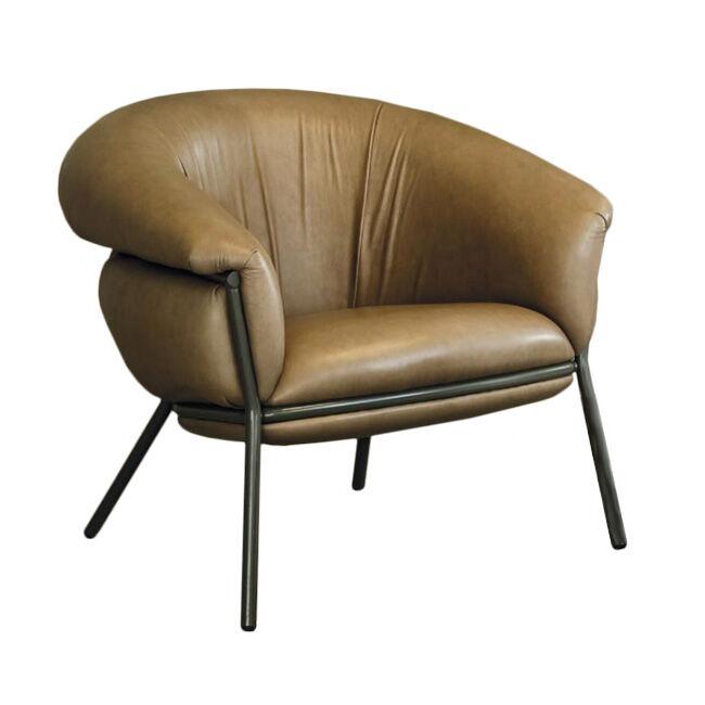 BD BARCELONA DESIGN fauteuil GRASSO (Aged camel V18 et structure beige - Tissu Vintage Nabuk Cat. V et acier verni)