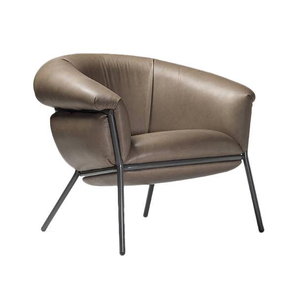 BD BARCELONA DESIGN fauteuil GRASSO (Clay S45 et structure beige - cuir Sauvage Cat. S et acier verni)