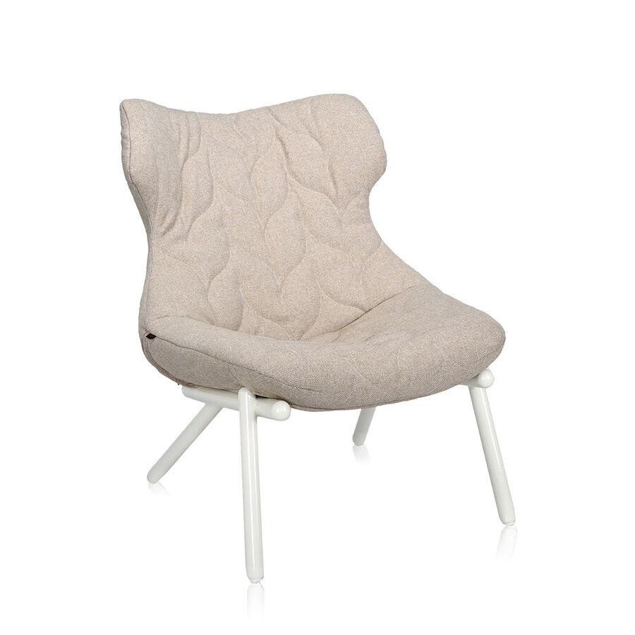 KARTELL fauteuil FOLIAGE (Rivestimento beige - pieds blancs - siège en tissu Trevira - Pieds en fer verni)