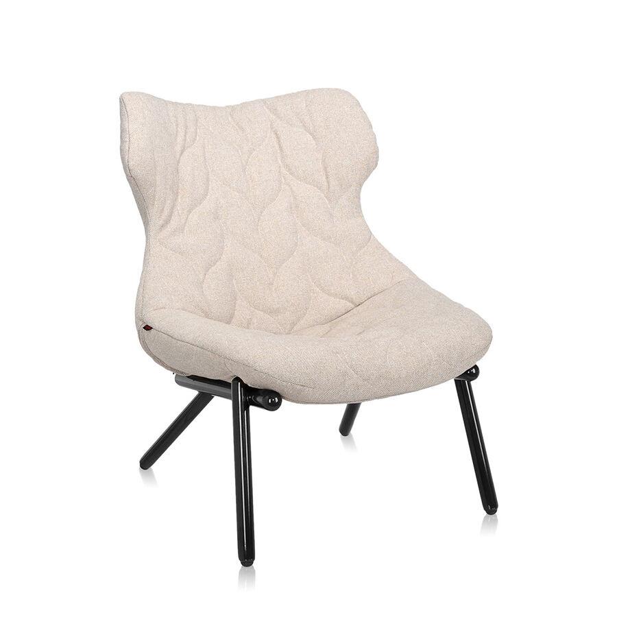 KARTELL fauteuil FOLIAGE (Rivestimento beige - pieds noirs - siège en tissu Trevira - Pieds en fer verni)