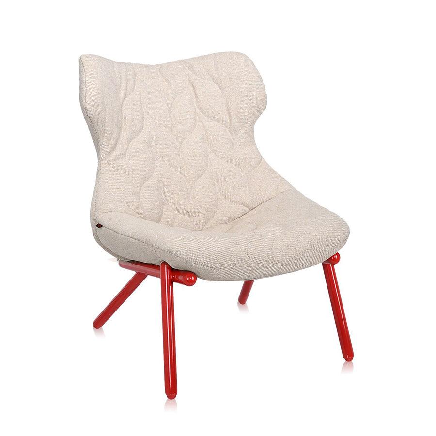 KARTELL fauteuil FOLIAGE (Rivestimento beige - pieds rouges - siège en tissu Trevira - Pieds en fer verni)