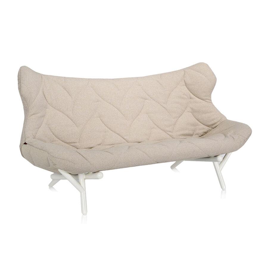 KARTELL canapé FOLIAGE (Rivestimento beige - pieds blancs - siège en tissu Trevira - Pieds en fer verni)