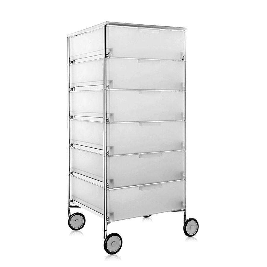 KARTELL meuble avec roues et 6 tiroirs MOBIL (Glace - PMMA opaline)