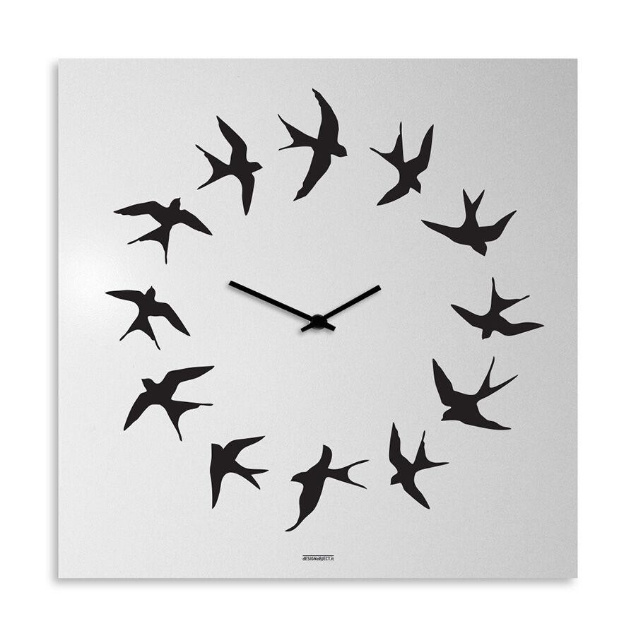 dESIGNoBJECT horloge murale BIRDS (Blanc - Tôle coupée au laser)