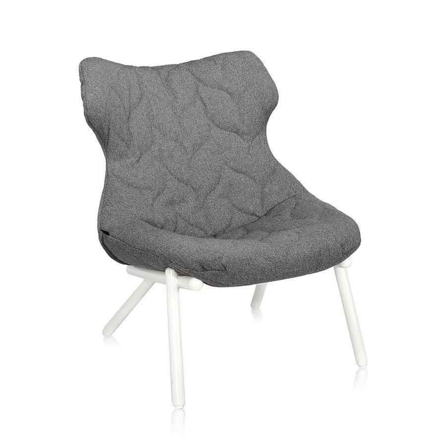 KARTELL fauteuil FOLIAGE (Revêtement gris pieds blancs siège en tissu Trevira Pieds en fer verni)