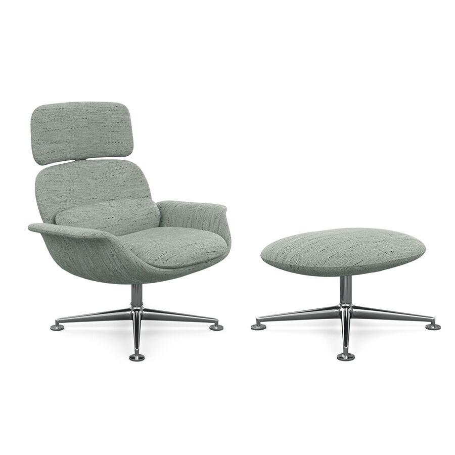 KNOLL fauteuil pivotant KN02 avec ottoman KN03 en tissu avec dossier haut inclinable (Rivington Dragon Revêtement Cat. S et structure en []