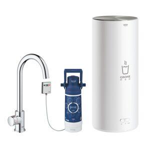 """Grohe robinet distributeur simple à """"C"""" RED MONO avec chaudière pour eau bouillante instantanée 30080001 (Boiler L - acier chromé)"""