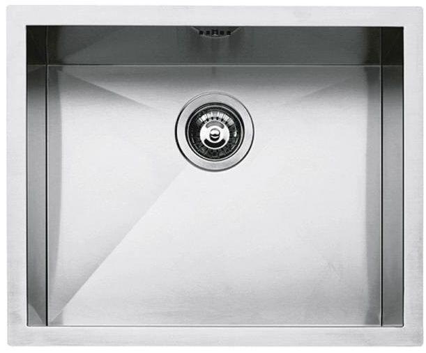 """BARAZZA évier bac carré rayon """"0"""" fleur de plan et intégré 50x40 1Q5040I (Inox - Acier)"""