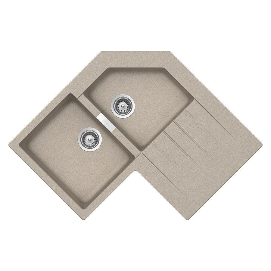 SCHOCK évier d'angle avec 2 bacs à gauche et égouttoir PRIMUS C200 (Avoine - Cristalite®)