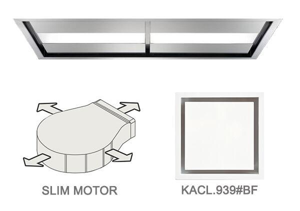FALMEC hotte au plafond NUVOLA 140 cm avec kit filtrant (brossé - acier et verre)