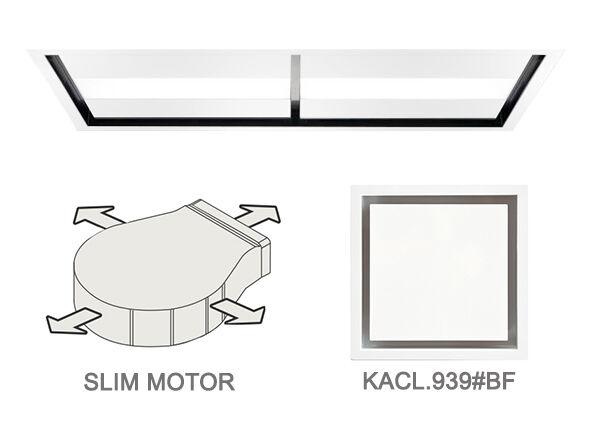 FALMEC hotte au plafond NUVOLA 140 cm avec kit filtrant (Blanc - acier et verre)