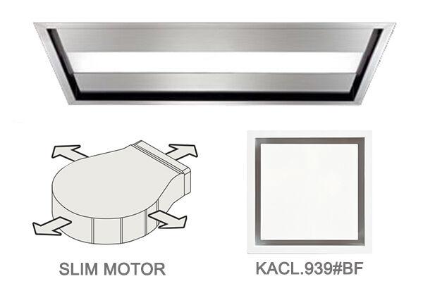 FALMEC hotte au plafond NUVOLA 90 cm avec kit filtrant (brossé - acier et verre)
