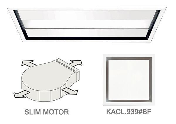 FALMEC hotte au plafond NUVOLA 90 cm avec kit filtrant (Blanc - acier et verre)