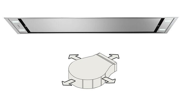 FALMEC hotte au plafond STELLA 120 cm (Moteur Slim - Acier Inox)