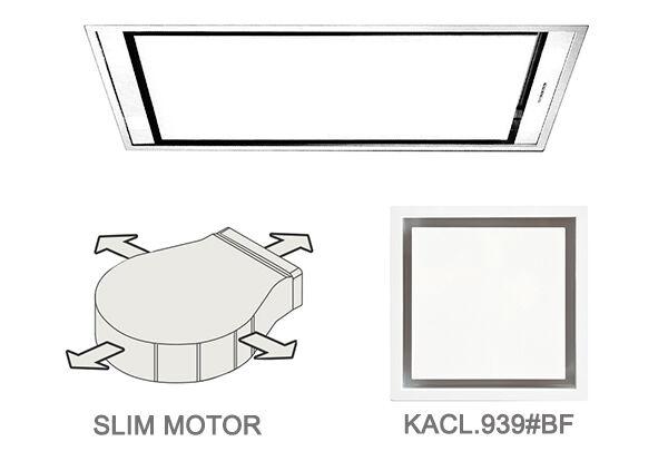 FALMEC hotte au plafond STELLA BLANCHE 90 cm avec kit filtrant (90 cm - Acier blanc opaque)