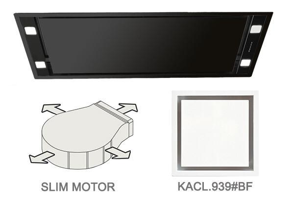 FALMEC hotte au plafond STELLA NOIRE 90 cm avec kit filtrant (90 cm - Acier noir opaque)